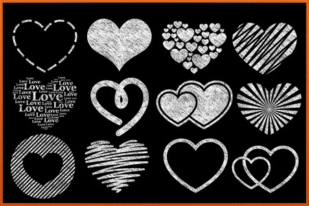 A collection of chalkboard heart designs