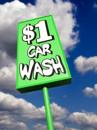 Lime green eye catching vintage car wash sign