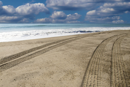 Beach with tire tracks going down to the right Imagens - 29844408