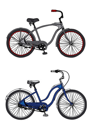 bicycling: hand drawing of two bikes