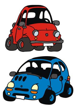 hand drawing of two funny little cars Illustration