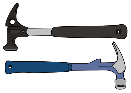 hand drawing of two hammers