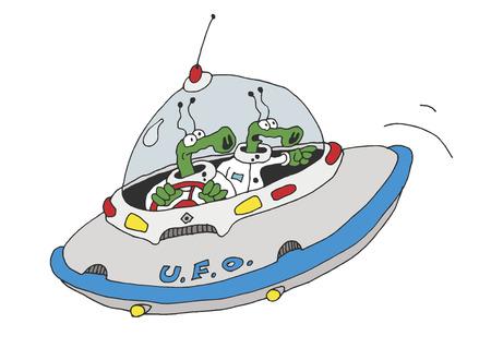 disco volante: disegno a mano di due stranieri disco volante