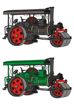 steam roller: hand drawing of old steam roller Illustration
