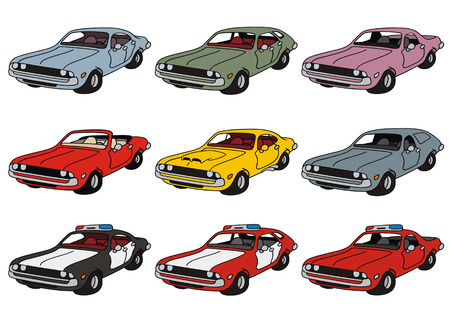 hand drawing of classic american cars