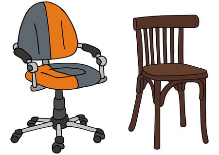 recent: hand drawing of recent and classc chairs Illustration
