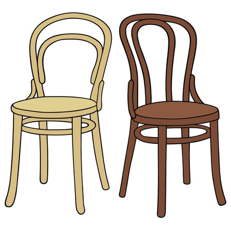 hand drawing of two classic wooden chairs Illustration