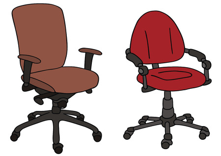 hand drawing of two office chairs