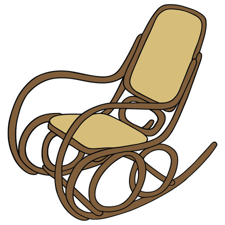 rocking chair: hand drawing of old wooden rocking chair