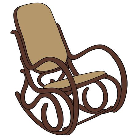 dessin à la main de la vieille chaise berçante en bois Vecteurs