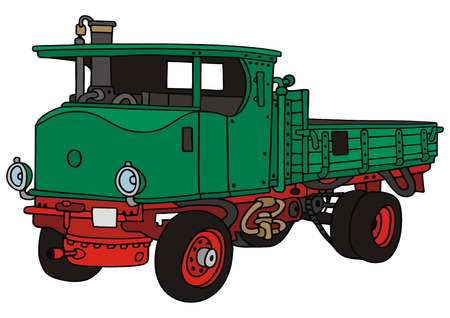 hand drawing of old steam truck