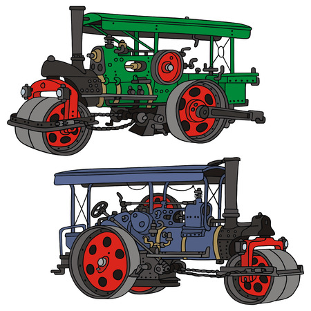 hand drawing of two classic steam road rollers Illustration