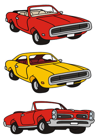 hand drawing of classic american musclecars