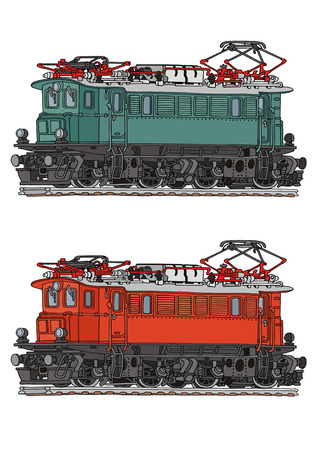 hand drawing of old electric locomotive Vector