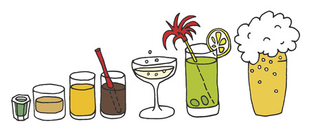 hand drawing of drinks Illustration