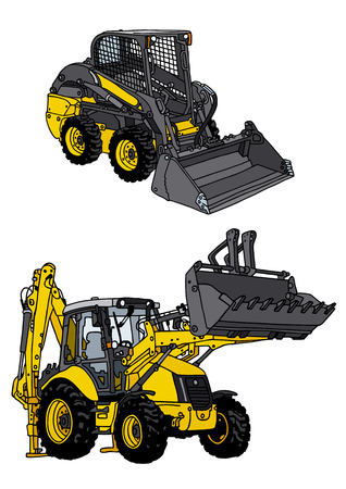 road works: hand drawing of tractor and loader