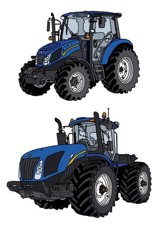 hand drawing of tractor Vettoriali