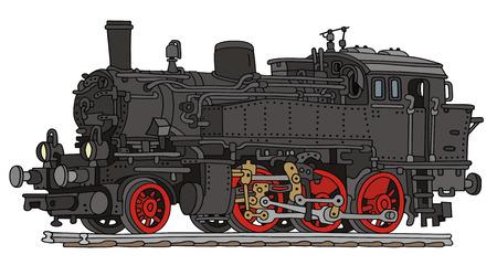 手描きの昔の蒸気機関車