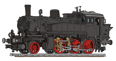 hand drawing of old steam locomotive Ilustração