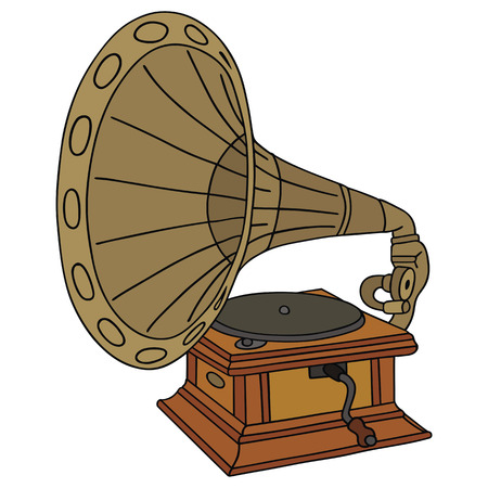 hand drawing of classic gramophone