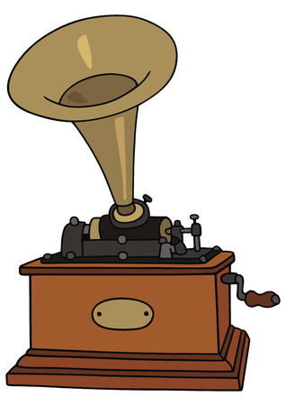 phonograph: hand drawing of classic phonograph