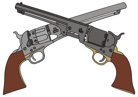 mano pistola: disegno a mano di due classici Wild West mano pistole Vettoriali
