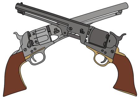 hand drawing of two classic Wild West hand guns Illustration