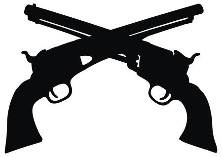 country western: dessin � la main de l'embl�me de deux armes de poing Far West classiques