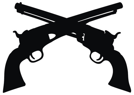 hand drawing of emblem two classic Wild West hand guns Vector