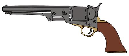 手の古典的な野生の西の手銃の図面  イラスト・ベクター素材
