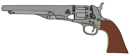 hand drawing of classic Wild West hand gun Vector