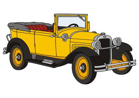 古典的な車の描画手します。  イラスト・ベクター素材