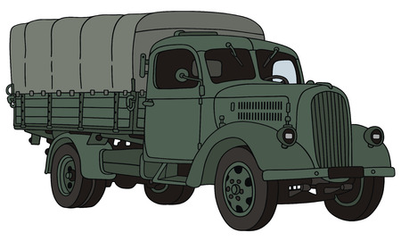 hand drawing of old military truck