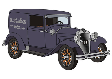 hand drawing of vintage delivery van
