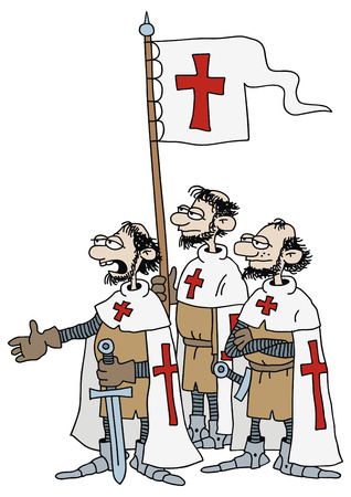 hand drawing of a group of crusaders Illustration