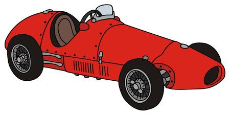 手のレースカー、ヴィンテージの描画
