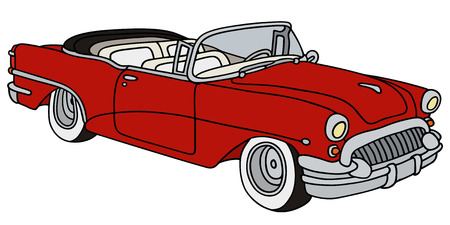 hand drawing of a classic convertible Vector