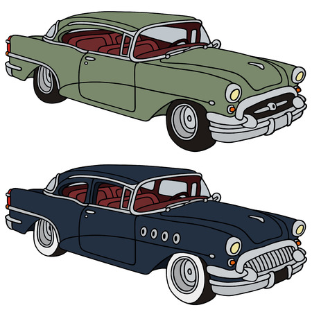 hand drawing of two classic american cars