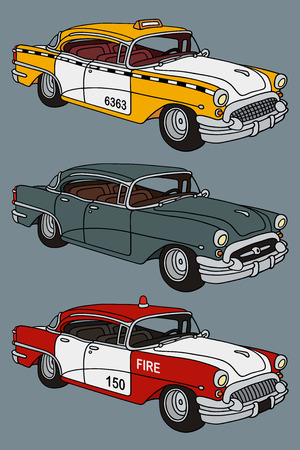hand drawing of three classic american cars