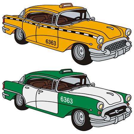 dibujo de la mano de dos taxis clásicos