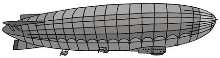 aeronautic: hand drawing of a old airship