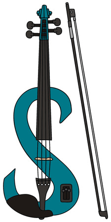 strains: hand drawing of a electric violin