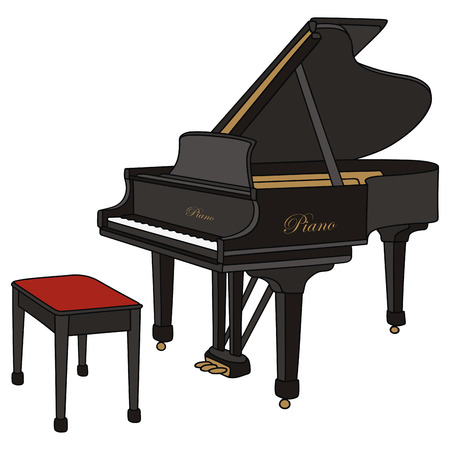 hand drawing of a opening grandpiano Vector