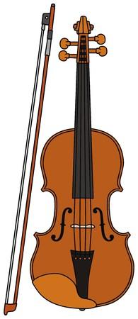 strains: hand drawing of a violin Illustration