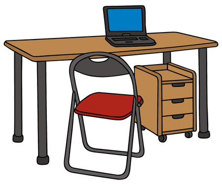 hand drawing of a desk and chair