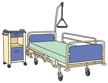 hand drawing of a hospital bed