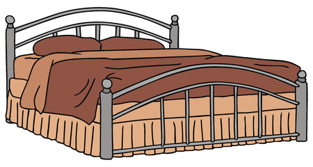 bedstead: hand drawing of a big bed Illustration