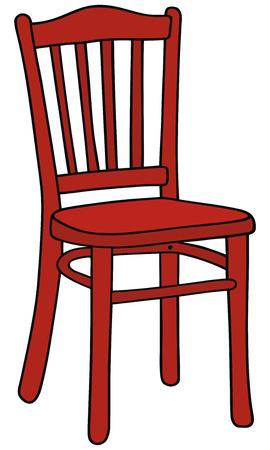 手の赤い椅子の図面