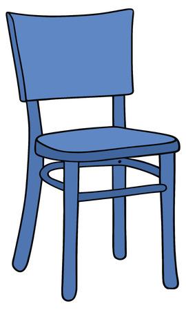 青い椅子の図面を手します。  イラスト・ベクター素材