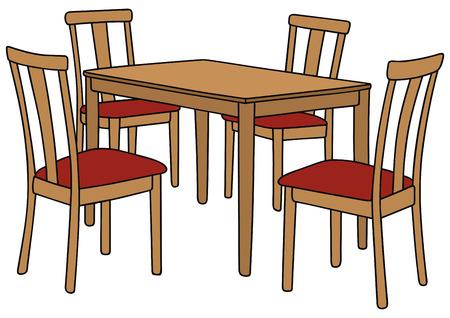 disegno a mano di un tavolo e quattro sedie